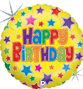 Happy Birthday Bold Stars Balloon